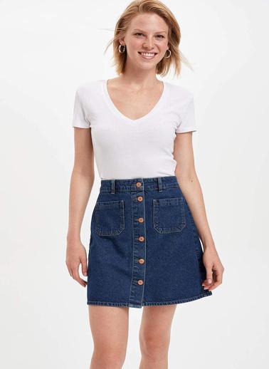 DeFacto V Yaka Slim Fit T-shirt Beyaz